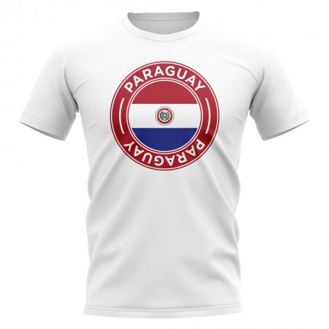 Paraguay Football Badge T-Shirt (White)