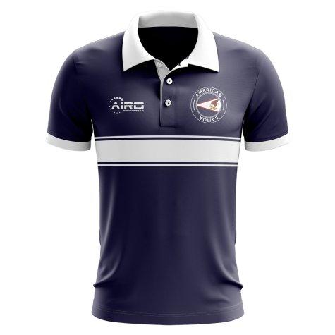 American Samoa Concept Stripe Polo Shirt (Navy)