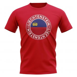 Liechtenstein Football Badge T-Shirt (Red)