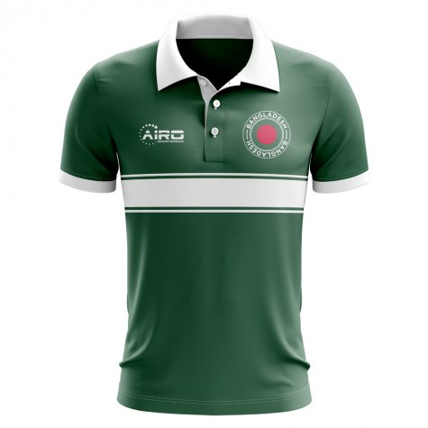 Bangladesh Concept Stripe Polo Shirt (Green)