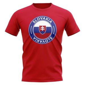 Slovakia Football Badge T-Shirt (Red)