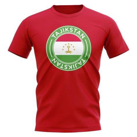 Tajikstan Football Badge T-Shirt (Red)