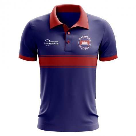 Cambodia Concept Stripe Polo Shirt (Royal)