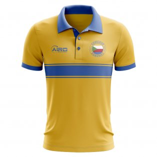 196917583 Comoros Concept Stripe Polo Shirt (Yellow)