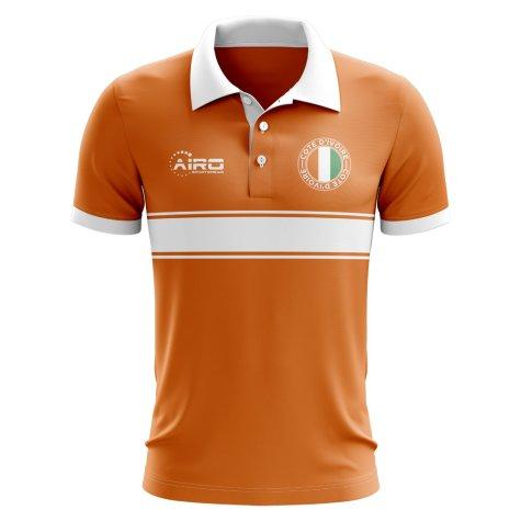 Cote D'Ivoire Concept Stripe Polo Shirt (Orange)
