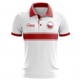 Czech Republic Concept Stripe Polo Shirt (White)