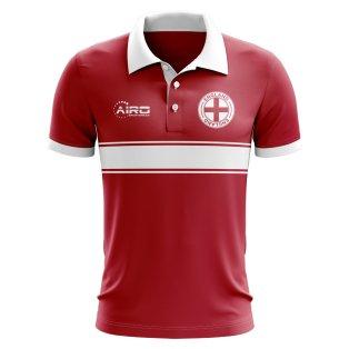 England Concept Stripe Polo Shirt (Red)