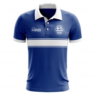 Greece Concept Stripe Polo Shirt (Blue)