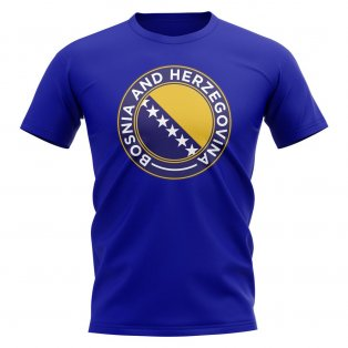 Bosnia and Herzegovina Football Badge T-Shirt (Royal)