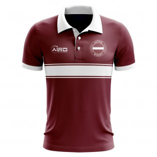 Latvia Concept Stripe Polo Shirt (Maroon)