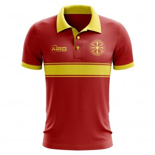 Macedonia Concept Stripe Polo Shirt (Red)