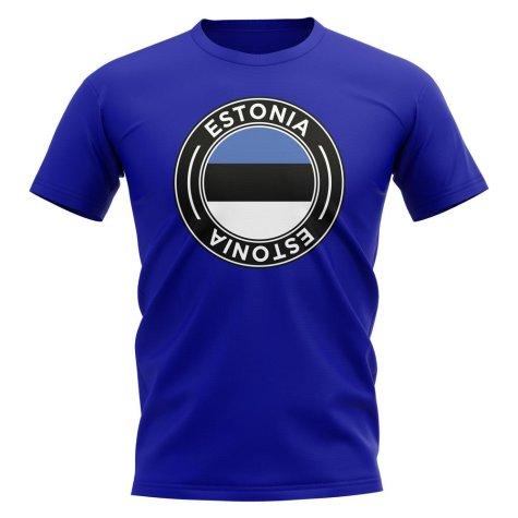 Estonia Football Badge T-Shirt (Royal)