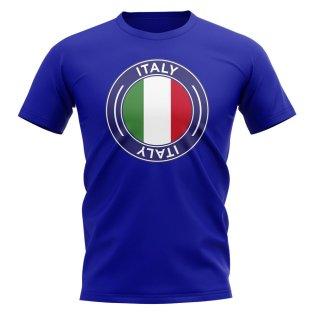 Italy Football Badge T-Shirt (Royal)
