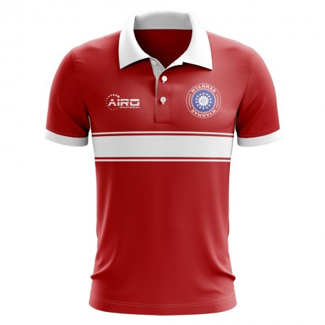 Myanmar Concept Stripe Polo Shirt (Red)