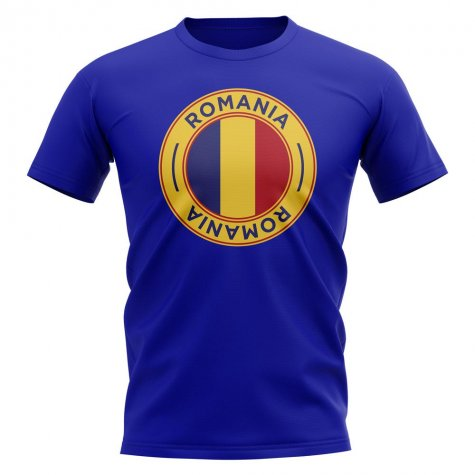 Romania Football Badge T-Shirt (Royal)