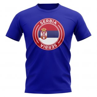 Serbia Football Badge T-Shirt (Royal)