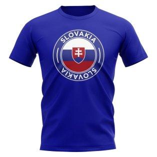 Slovakia Football Badge T-Shirt (Royal)