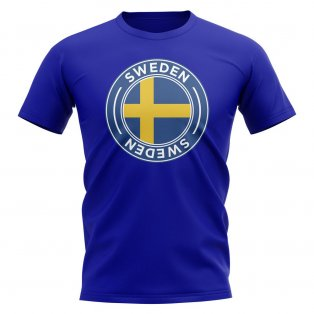 Sweden Football Badge T-Shirt (Royal)