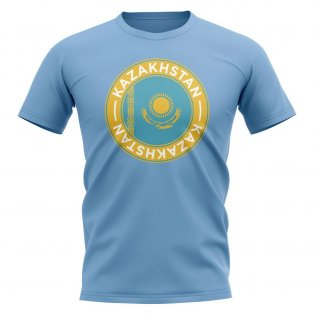 Kazakhstan Football Badge T-Shirt (Sky)