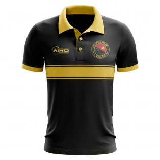 Papua New Guinea Concept Stripe Polo Shirt (Black)