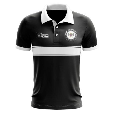 Saint Barthelemy Concept Stripe Polo Shirt (Black)