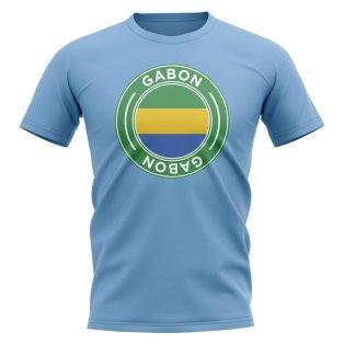 Gabon Football Badge T-Shirt (Sky)