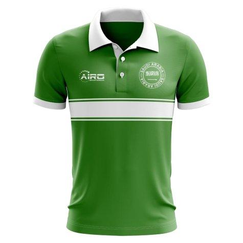 Saudi Arabia Concept Stripe Polo Shirt (Green) - Kids