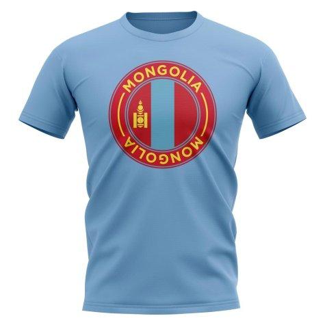 Mongolia Football Badge T-Shirt (Sky)