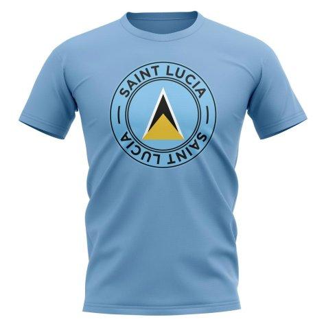 Saint Lucia Football Badge T-Shirt (Sky)