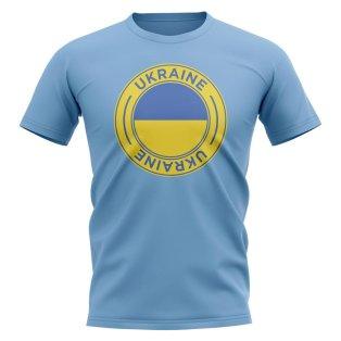 Ukraine Football Badge T-Shirt (Sky)