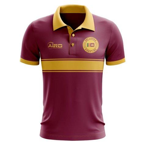 Sri Lanka Concept Stripe Polo Shirt (Maroon) - Kids