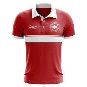 Switzerland Concept Stripe Polo Shirt (Red)