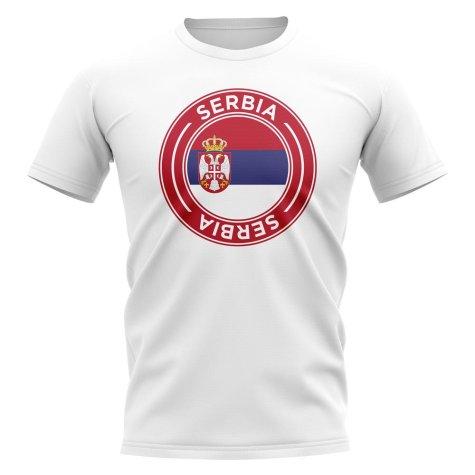Serbia Football Badge T-Shirt (White)