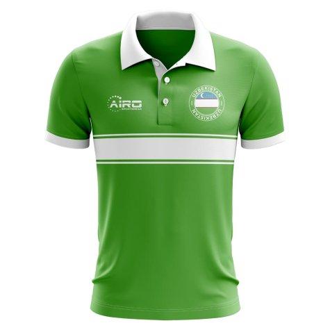 Uzbekistan Concept Stripe Polo Shirt (Green)
