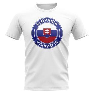 Slovakia Football Badge T-Shirt (White)