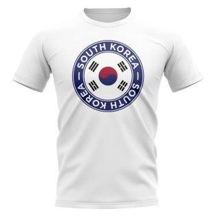 South Korea Football Badge T-Shirt (White)