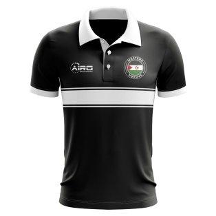 Western Sahara Concept Stripe Polo Shirt (Black)