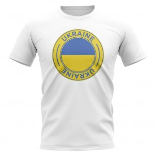 Ukraine Football Badge T-Shirt (White)