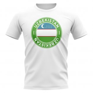 Uzbekistan Football Badge T-Shirt (White)