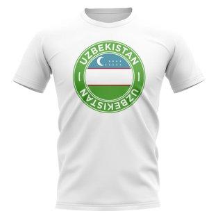 Uzbekistan Football Badge T-Shirt (White)