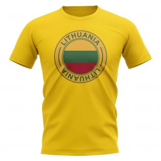 Lithuania Football Badge T-Shirt (Yellow)