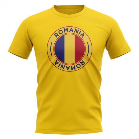 Romania Football Badge T-Shirt (Yellow)