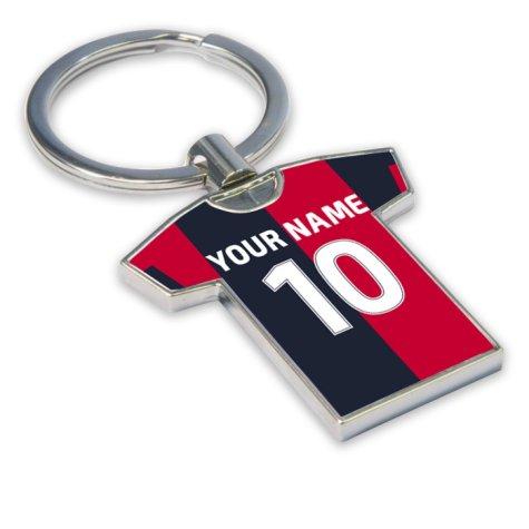 Personalised Cagliari Football Shirt Key Ring