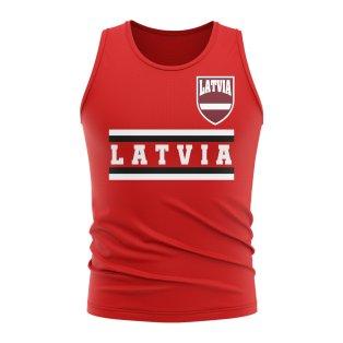 Latvia Core Football Country Sleeveless Tee (Red)