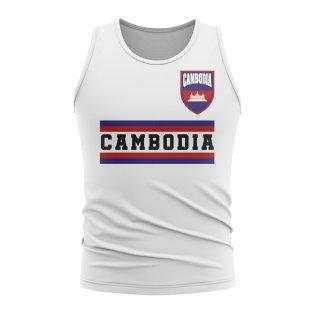 Cambodia Core Football Country Sleeveless Tee (White)