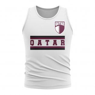 Qatar Core Football Country Sleeveless Tee (White)