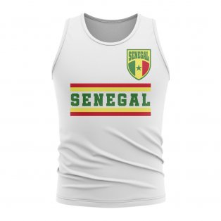 Senegal Core Football Country Sleeveless Tee (White)