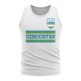 Uzbekistan Core Football Country Sleeveless Tee (White)