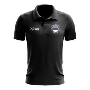 Estonia Football Polo Shirt (Black)
