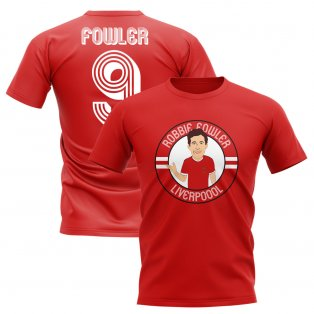 Robbie Fowler Liverpool Illustration T-Shirt (Red)
